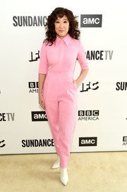 Sandra Oh looked adorable in a collared pink jumpsuit by Emilia Wickstead at the AMC Network Summit.