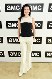 Julianna Margulies teamed her top with a pair of pinstriped bell-bottoms.