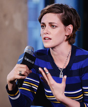 Kristen Stewart accessorized with a silver wide-band ring at the Build Speaker Series.