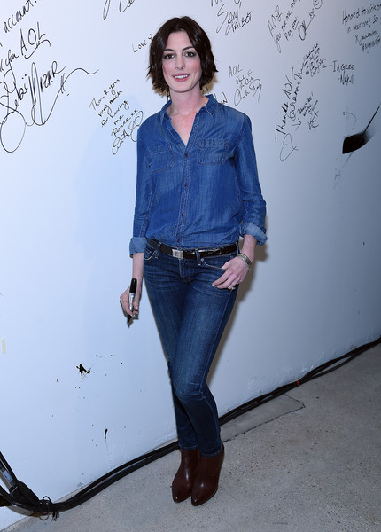 More Pics of Anne Hathaway Short Wavy Cut (1 of 22) - Short Hairstyles Lookbook - StyleBistro [jeans,denim,blue,clothing,standing,shoulder,fashion,electric blue,textile,footwear,series,anne hathaway,build speaker,new york,aol,aol studios]