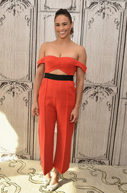 Paula Patton showcased her shoulders and abs in this red-orange cutout jumpsuit by Self-Portrait at the AOL Build Speaker Series.