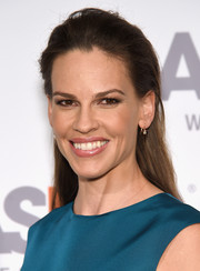 Hilary Swank wore her long locks straight and slicked back during the Bergh Ball.