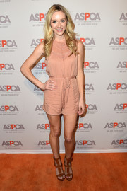 Greer Grammer completed her outfit with a pair of brown gladiator heels.