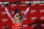 Lindsey Vonn makes her sponsor proud with this blue 'Red Bull' cap.