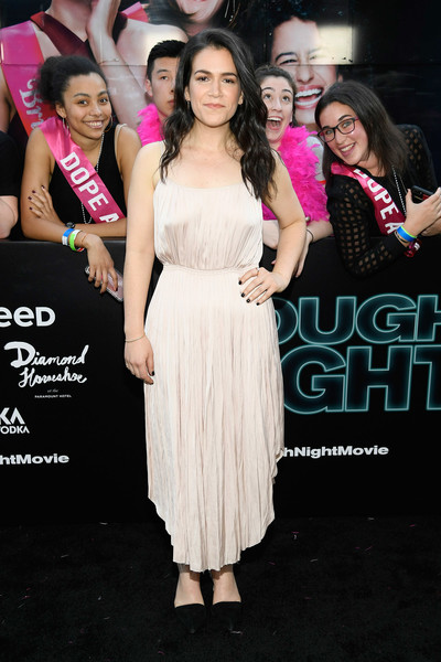 Abbi Jacobson Cocktail Dress [premiere,clothing,dress,pink,event,beauty,fashion,cocktail dress,long hair,leg,abbi jacobson,rough night,premeire,premeire,new york,lincoln square,amc loews]