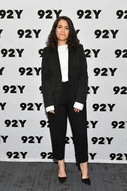 Abbi Jacobson kept it simple in a black pantsuit while attending an event at 92nd Street Y.