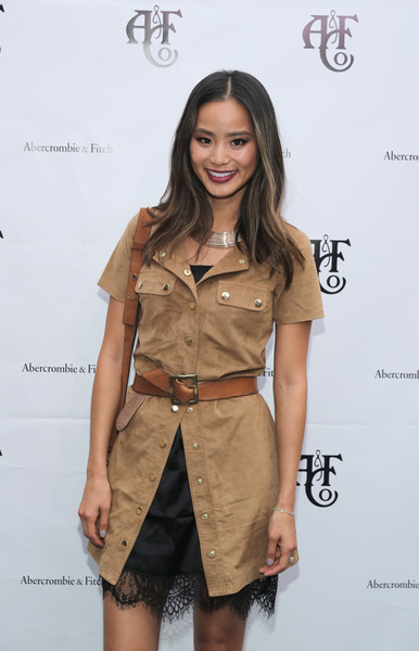 More Pics of Jamie Chung Sterling Collar Necklace (1 of 6) - Jamie Chung Lookbook - StyleBistro [clothing,face,fashion model,fashion,brown,fashion show,hairstyle,dress,khaki,fashion design,jamie chung,model,new york city,gallow green rooftop,abercrombie fitch,summer rooftop party]