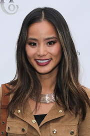 Jamie Chung dressed up her look with a multi-strand silver collar necklace.