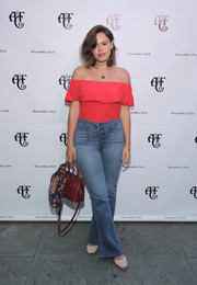 Atlanta de Cadenet Taylor was a boho cutie in a red off-the-shoulder top during the Abercrombie & Fitch Summer Rooftop Party.