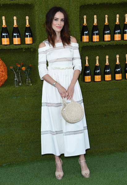 Abigail Spencer Straw Tote [photo,drink,liqueur,bottle,distilled beverage,wine bottle,arrivals,abigail spencer,chris delmas,will rogers state historic park,pacific palisades,veuve clicquot polo classic]