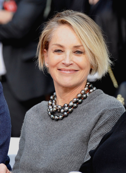 Sharon Stone attended Jeff Bridges' hand and footprint ceremony wearing her hair in a casual bob.