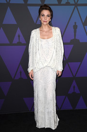 Maggie Gyllenhaal was diva-glam in a slouchy beaded white gown by Attico at the 2018 Governors Awards.