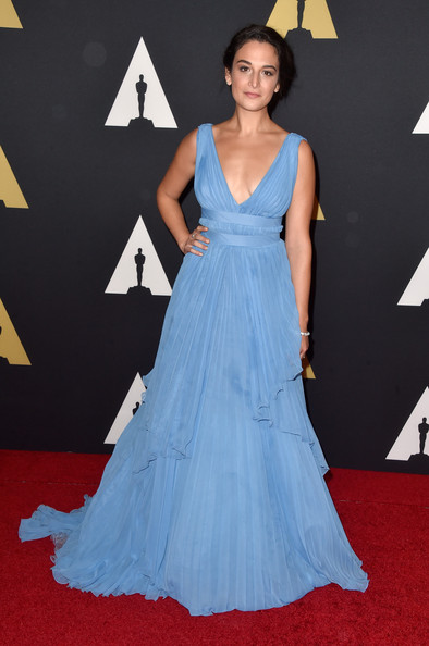 Jenny Slate was a pleasure to behold in her sky-blue Alberta Ferretti empire gown during the Governors Awards.