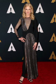 Nicole Kidman was equal parts edgy and elegant in a black and silver sheer-panel gown by Christopher Kane at the Governors Awards.