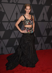 Jennifer Lawrence stunned in an ornately beaded Alexander McQueen crop-top at the Governors Awards.