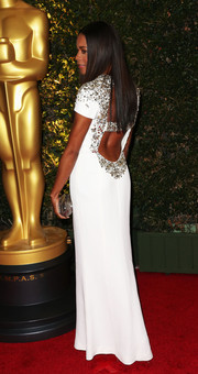 Naomie Harris was a stunner at the Governors Awards in a beaded white Burberry gown with an open back.