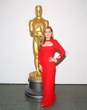 Amy Adams was a striking beauty at the official Academy screening of 'Nocturnal Animals' in a fire engine-red Tom Ford gown with a cutout yoke and sleeves.