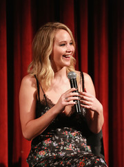 Jennifer Lawrence paired gray nail polish with a floral slip dress for the official Academy screening of 'Mother!'
