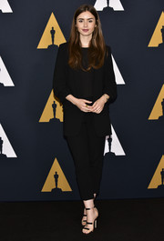 Lily Collins kept it fuss-free in a black pantsuit at the Academy Nicholl Fellowships in Screenwriting Awards.