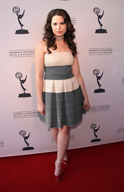Katie Lowes wore this two-tone fit-and-flare box pleat dress to the Evening With Shonda Rhimes & Friends.
