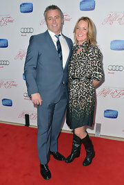 Andrea Anders showed her wild side with leopard print ombre dress.