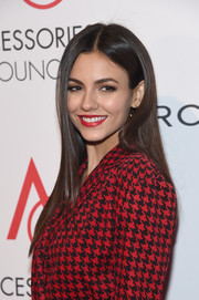 Victoria Justice stuck to her usual long straight style when she attended the 2017 ACE Awards.