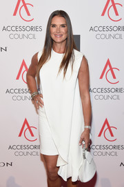 Brooke Shields arrived for the 2017 ACE Awards carrying a white Calvin Klein leather purse with a bejeweled handle.