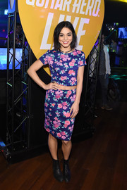 A pair of black AllSaints ankle boots injected some toughness into Vanessa Hudgens' girly outfit.