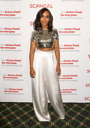 Kerry Washington paired her sassy top with white wide-leg pants, also by August Getty Atelier.