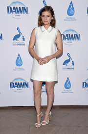 Kate Mara complemented her LWD with a pair of Stuart Weitzman Nudist sandals.