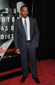 Anthony Mackie looked ultra-suave in this navy blue suit at the premiere of the Adjustment Bureau.