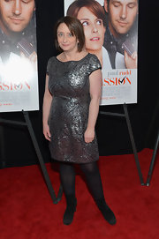 Rachel Dratch sparkled at the 'Admission' premiere where she sported a silver sequin dress.