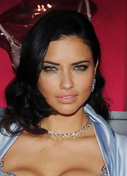 Adriana was sultry in NYC with metallic eyeshadow and perfectly groomed brows.
