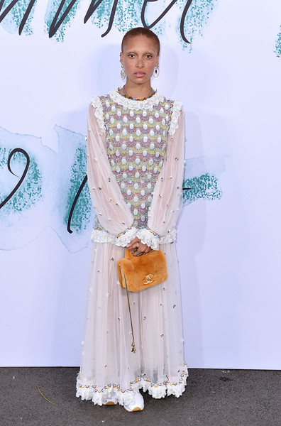 Adwoa Aboah Embroidered Dress [clothing,fashion,dress,formal wear,fashion design,haute couture,peach,neck,style,arrivals,adwoa aboah,london,england,the serpentine gallery,serpentine galleries summer party,the serpentine galleries summer party]