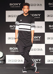 Jaden Smith rocked a totally hip and contemporary look when he wore this black and white striped hoodie.
