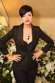 Lily Allen rocked a classic blazer with dark denim.