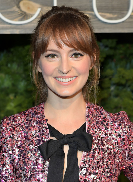 Ahna O'Reilly Loose Ponytail [hair,hairstyle,beauty,brown hair,bangs,lip,blond,smile,long hair,bow tie,ahna oreilly,exclusive dinner,smogshoppe,los angeles,california,h m,conscious exclusive dinner]