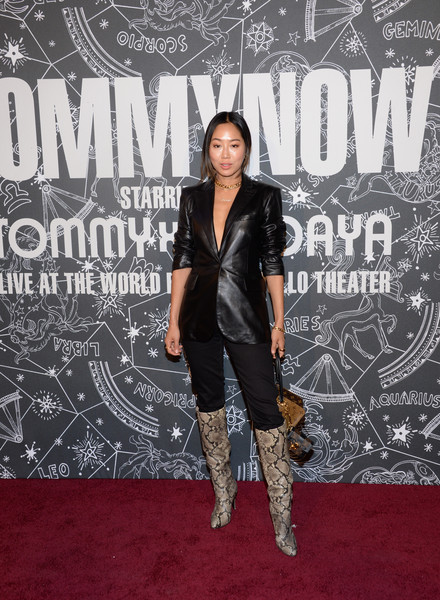 Aimee Song Leather Jacket [carpet,fashion,red carpet,footwear,premiere,knee-high boot,joint,fashion model,leather,fashion design,aimee song,front row,atmosphere,front row atmosphere,tommynow new york,new york,the apollo theater,tommynow]