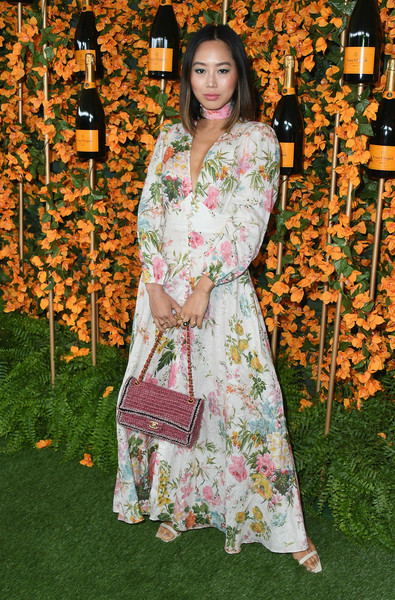 Aimee Song Chain Strap Bag [clothing,lady,dress,formal wear,peach,textile,fashion design,long hair,pattern,wedding reception,arrivals,aimee song,los angeles,pacific palisades,california,will rogers state historic park,veuve clicquot polo classic]