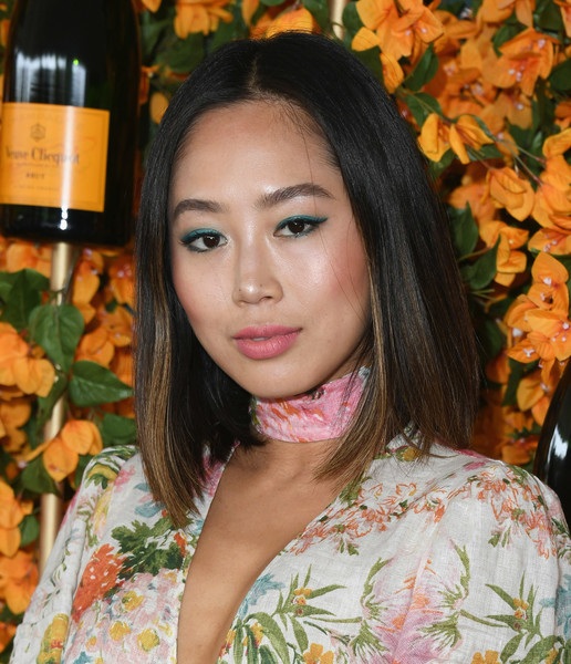 Aimee Song Mid-Length Bob [hair,face,beauty,hairstyle,lady,lip,long hair,black hair,plant,brown hair,arrivals,aimee song,los angeles,pacific palisades,california,will rogers state historic park,veuve clicquot polo classic]