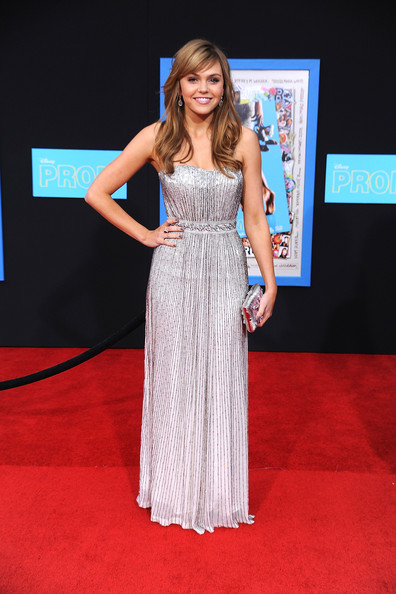 Aimee Teegarden Hard Case Clutch [prom,red carpet,clothing,carpet,dress,shoulder,hairstyle,premiere,fashion,gown,flooring,arrivals,aimee teegarden,california,los angeles,el capitan,walt disney pictures,premiere,premiere]