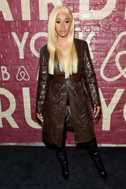 Cardi B rocked a brown leather coat by Levenity at the Airbnb New York City Experiences launch.