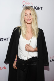 Julianne Hough arrived for the Airbnb Open Spotlight event carrying a black chain-strap bag by Jimmy Choo.