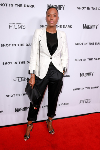 Aisha Tyler Satin Pants [fox sports films,shot in the dark premiere documentary screening and panel discussion,suit,white,clothing,formal wear,red carpet,carpet,outerwear,tuxedo,pantsuit,blazer,aisha tyler,premiere documentary screening,pacific design center,west hollywood,california,panel discussion]