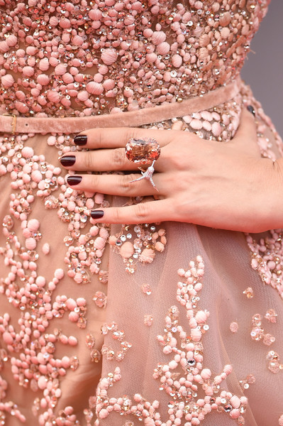 Aishwarya Rai Statement Ring [the bfg,nail,dress,peach,pink,hand,finger,flower,manicure,fashion accessory,jewellery,red carpet arrivals - the 69th annual cannes film festival,may 14,jewelry detail,aishwarya rai,premiere,palais des festivals,cannes,france,cannes film festival]