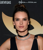 Alessandra Ambrosio added more sparkle with a crystal chain necklace.
