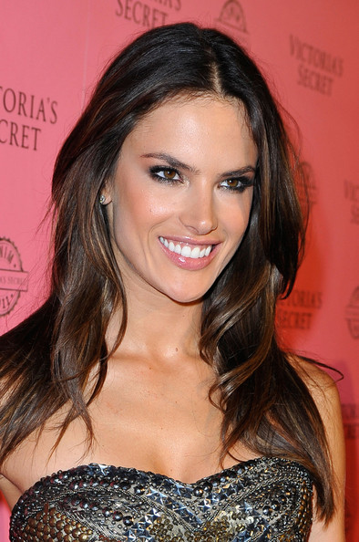Alessandra Ambrosio Long Center Part [hair,hairstyle,eyebrow,brown hair,long hair,beauty,chin,hair coloring,lip,blond,a pink carpet,host,alessandra ambrosio,vs angels,swim collection,los angeles,california,victorias secret,club l,event]