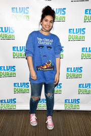 Alessica Cara paired her graphic 'The Great Gatsby' sweatshirt with ripped jeans and pink converse for an edgy look at 'The Elvis Duran Z100 Morning Show' in NYC.