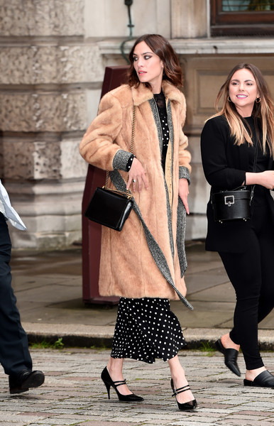 Alexa Chung Fur Coat [street fashion,clothing,fashion,snapshot,lady,outerwear,footwear,shoulder,blazer,coat,party arrivals,alexa chung,exhibition preview,england,london,royal academy of arts summer,royal academy of arts,royal academy of arts summer exhibition]