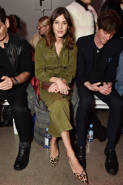 Alexa Chung Jumpsuit [shows,fashion,fashion model,flooring,outerwear,event,formal wear,girl,haute couture,carpet,fun,christian cowan,cowan,alexa chung,front row,new york city,spring studios,new york fashion week,fashion show,the shows at gallery ii]